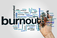 Burnout Word Cloud On Grey Bac...
