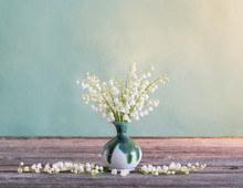 Lilly Of Valley In Vase On Woo...