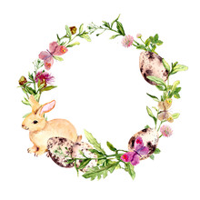 Easter Wreath With Easter Bunny, Colored Eggs In Grass, Flowers. Circle Border. Watercolor
