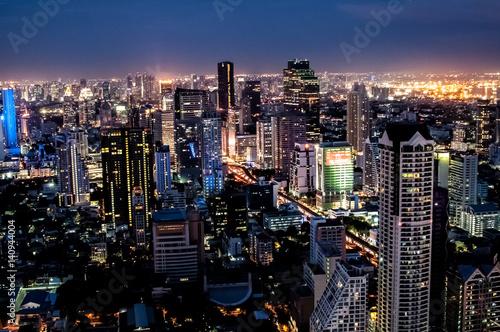 Spoed Foto op Canvas Tokyo Night top view of Bangkok