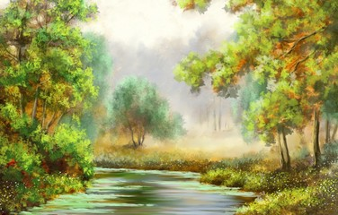 Obraz Forest,tree,river, paintings landscape