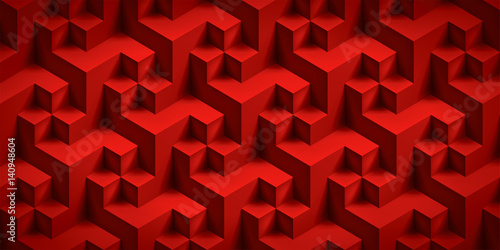 Volume realistic unreal texture, red cubes, 3d geometric