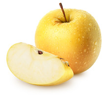 Isolated Wet Apples. Whole Yellow (golden) Apple Fruit With Slice Isolated On White, With Clipping Path
