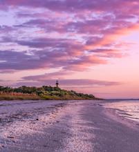 Sunrise On Sanibel Island Florida Beach With Vivid Cokors