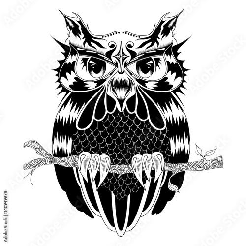 Poster Uilen cartoon Graphic illustration of owl, vector