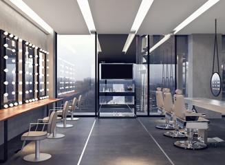 Modern interior design of salon 3D Render