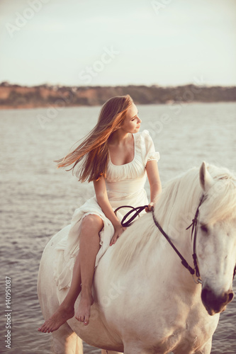 Poster Artist KB Girl in white dress with horse on the beach