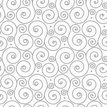 Seamless Pattern With Gray Swirl Ornament On White. Smart Background For Weddings, Birthdays. Monogram. Monochrome Pattern. Ornament.