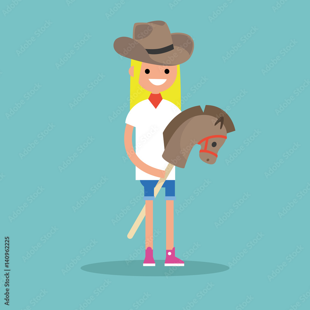 Young blond girl wearing cowboy hat and riding hobbyhorse / flat ...