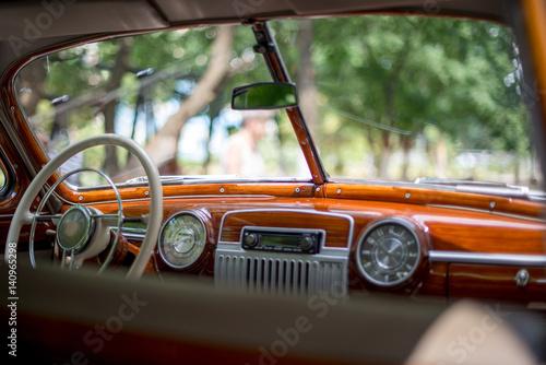 Retro car, retro torpedo car, vintage steering wheel, speedometer Wallpaper Mural