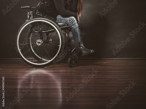 Fotografie, Obraz  Depressed person on wheelchair.