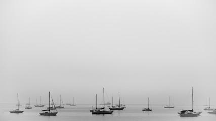Obraz na Szkle Czarno-Biały Ruhiges Gewässer mit ankernden Segelbooten