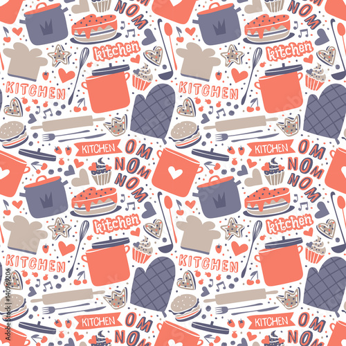Cooking seamless pattern retro style with kitchen and baking items vector Fotobehang