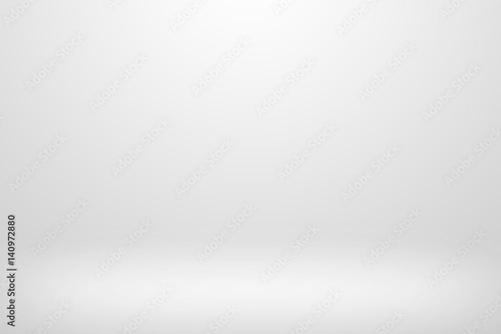 Fototapeta Gray gradient design. Empty white studio background.