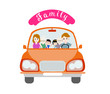 Illustration of a big happy family on a white background in car.