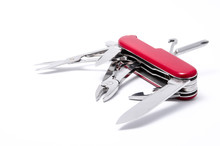 Red-Knife Multi-tool, Isolated On White Background