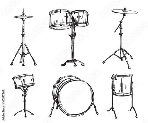 Valokuvatapetti Drum kit in sketch style