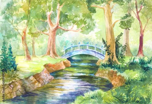 Akwarela krajobraz leśny. most przez rzekę. Spaceruj naturą. ilustracja do tła, tapety, papieru lub okładki. Podróż, podróż, odpoczynek, piknik w lesie.