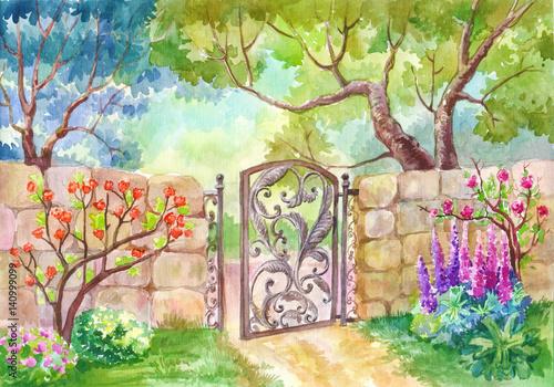 Akwarela krajobraz, brama do ogrodu. Słoneczny dzień, ogród z kwiatami, ogród kwiatowy. Drzewa owocowe. Malowanie, malowanie lub ilustracja, nadające się na plakat na okładkę,