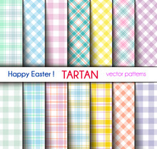 Set Of Fourteen Easter Colors Tartan And Gingham Plaid  Patterns