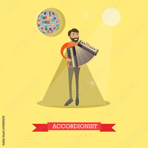 Fényképezés  Vector flat illustration of man playing accordion