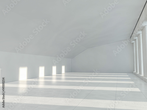Papiers peints Tunnel White architecture background. Abstract architectural interior. 3D rendering.