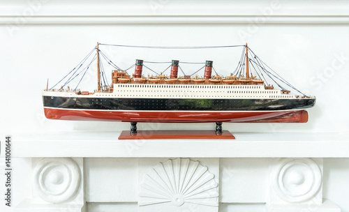 Antique Wooden Model Ship Decorated On The Wall Buy This Stock