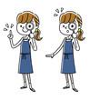 エプロン姿の女性:調べる、虫眼鏡