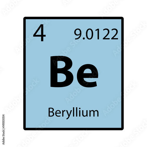 Beryllium periodic table element color icon on white background beryllium periodic table element color icon on white background vector urtaz