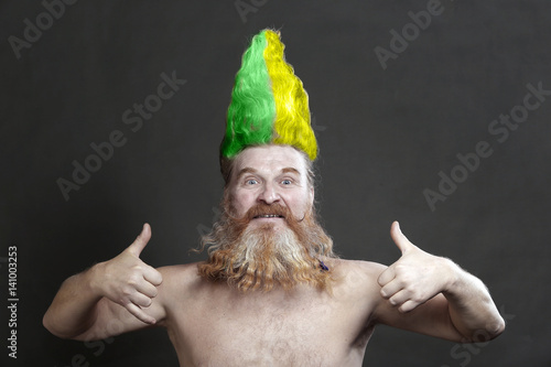 Slika na platnu buffoon with a yellow-green mohawk