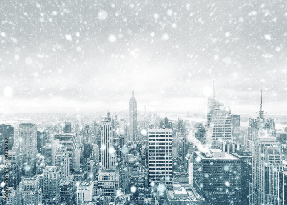 Fototapety, obrazy: New York City skyline during a snowstorm