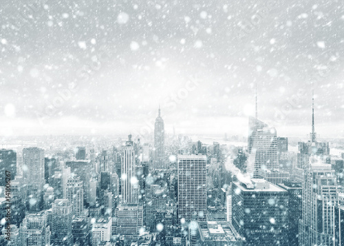 New York City skyline during a snowstorm