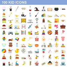 100 Kid Icons Set, Flat Style