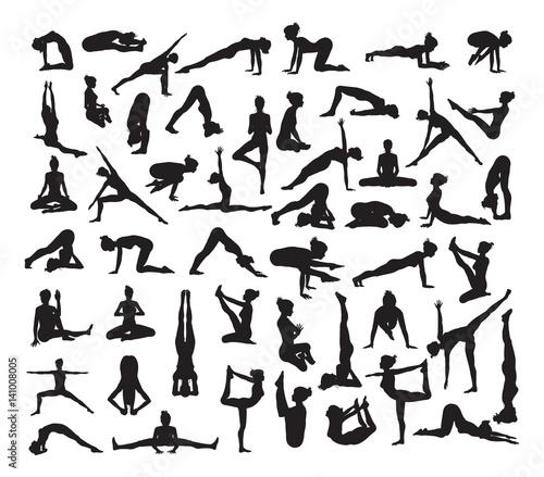 Fotografie, Obraz  Yoga Poses Silhouettes