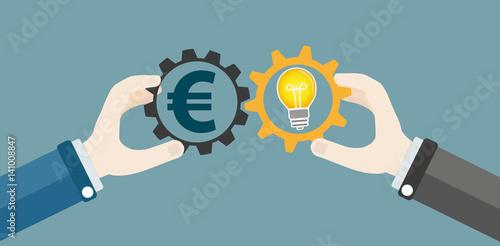 Fotografía  Hands Gears Idea Bulb Euro Investor Concept