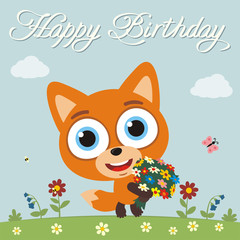 Happy birthday to you! Funny fox with flowers. Birthday card with fox in cartoon style.