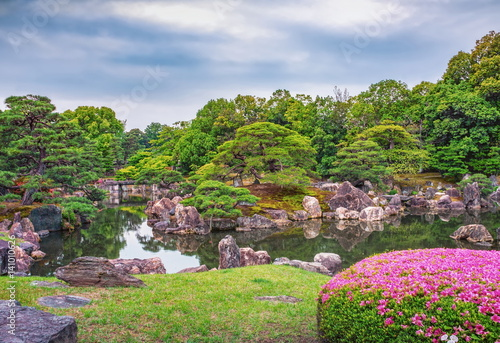 Beautiful pond near Golden Pavilion in Kyoto, Japan Tableau sur Toile