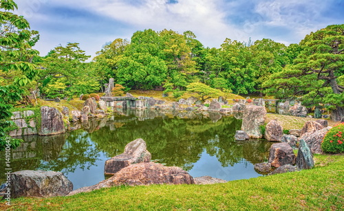Beautiful pond near Golden Pavilion in Kyoto, Japan Poster Mural XXL