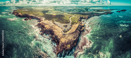 Foto op Plexiglas Luchtfoto Aerial panorama of Thunder Point lookout and Warrnambool, Victoria, Australia