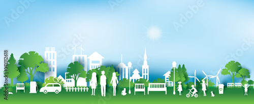 Green eco city and life paper art style, urban landscape and industrial factory buildings concept.vector illustration - 141012618