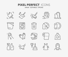 Cleaning Thin Line Icons