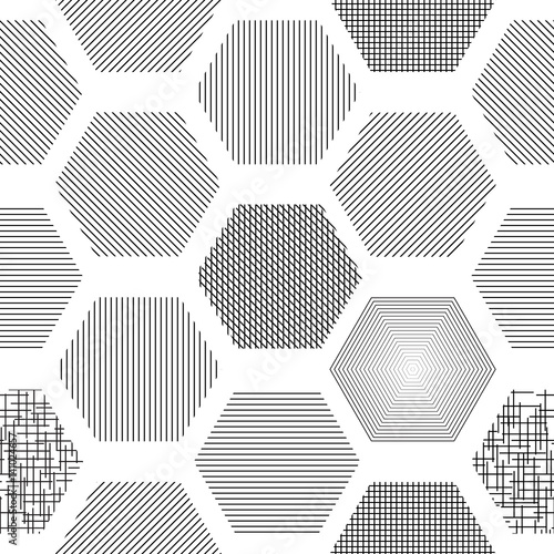 Valokuva  Abstract seamless geometric background with hexagons with different texture, hat