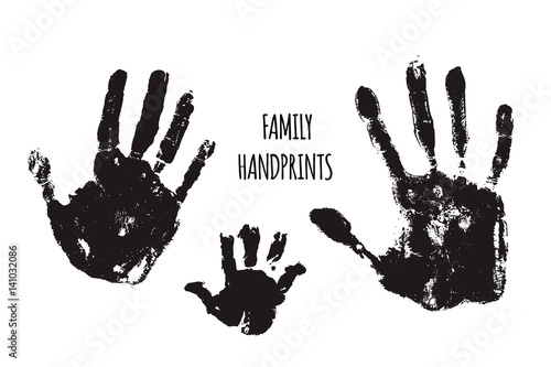 Fotografie, Obraz  Family handprints vector illustration