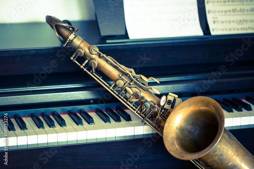 Photo Saxophone am Klavier