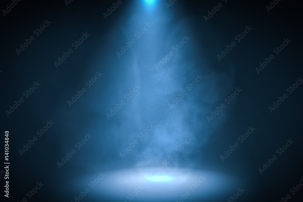 Fototapety, obrazy: 3D rendered illustration of podium with blue spotlight background with smoke.