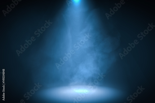 Photo Stands Light, shadow 3D rendered illustration of podium with blue spotlight background with smoke.