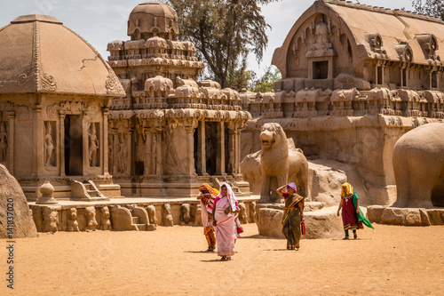 Vászonkép Hindu women visiting ancient Hindu monolithic,  Pancha Rathas - Five Rathas, Mah