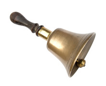 Old Brass School Bell, Isolate...
