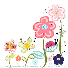 Naklejka Do pokoju dziecka Abstract decorative spring flowers greeting card