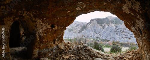 Poster Marron chocolat A cave in the Tabernas desert, Panorama